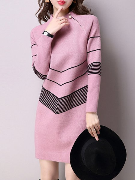 Stand Collar Long Sleeve Midi Dress