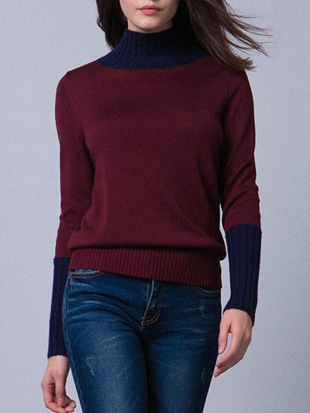 Casual Long Sleeve Color-block Turtleneck Sweater