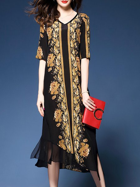 Printed Elegant Asymmetrical Chiffon Dress