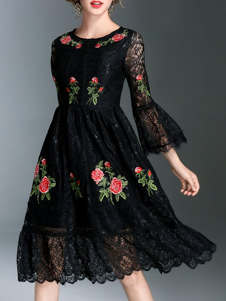 Black Bell Sleeve Guipure Lace Floral Midi Dress