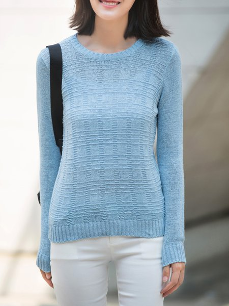 Sky Blue Casual Crew Neck Solid Sweater