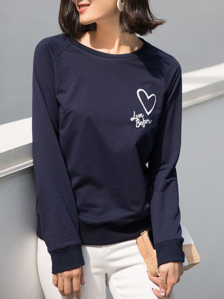 Navy Blue Polyester Casual Crew Neck Top