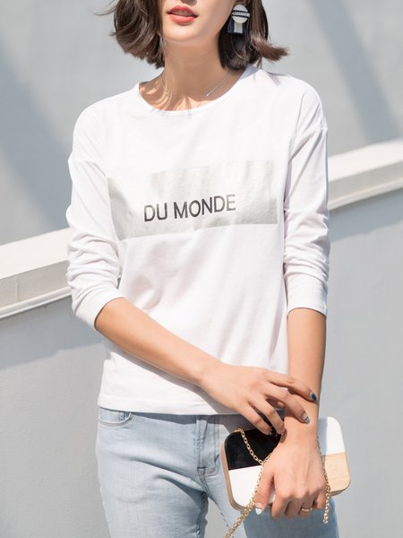 Casual Letter Long Sleeve Printed Cotton Top