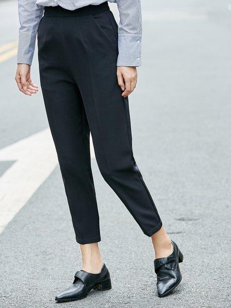 Solid Simple Straight Leg Pants