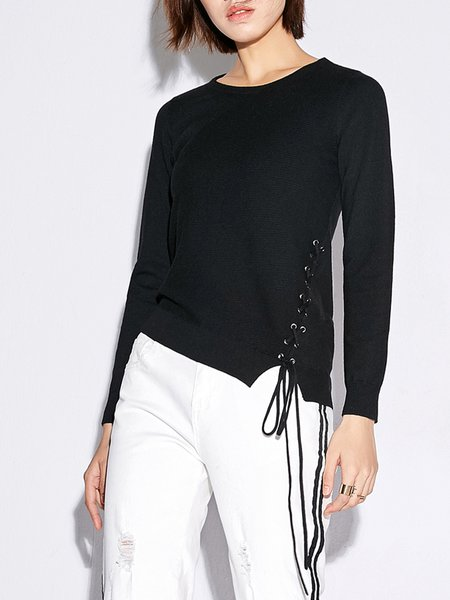 Casual Lace Up Long Sleeved Top