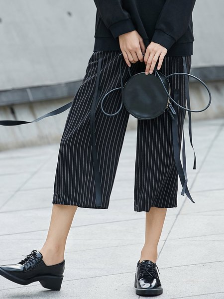 Printed Stripes Simple Wide Leg Pants