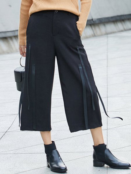 Simple Paneled Solid Wide Leg Pant