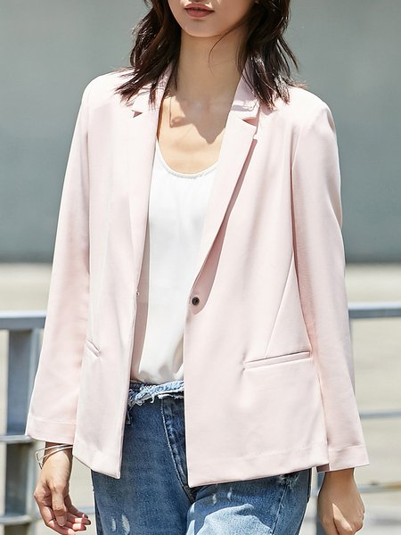 Pockets Lapel Solid Long Sleeve Blazer