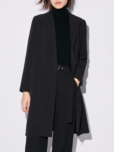 Black Long Sleeve Solid Trench Coat