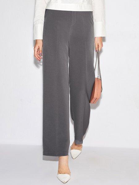 Simple Solid Wide Leg Pants