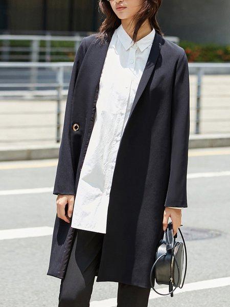 Casual Solid Lapel Long Sleeve Blazer