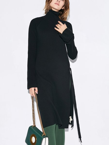 Slit Frill Sleeve Casual Turtle Neck Long Sleeved Top