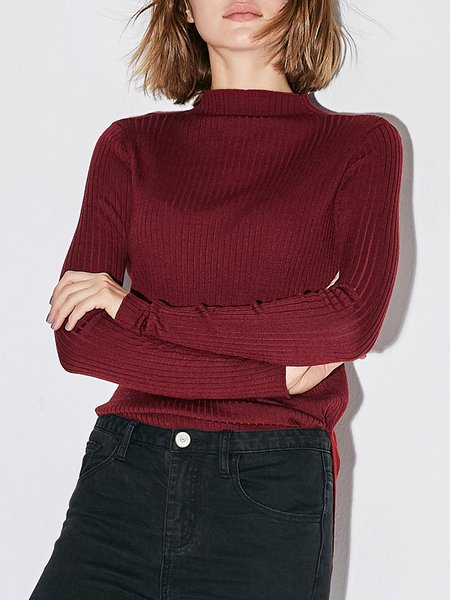 Casual Stand Collar Long Sleeved Top