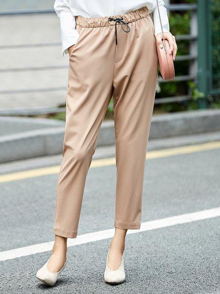 Simple Solid Straight Leg Pant