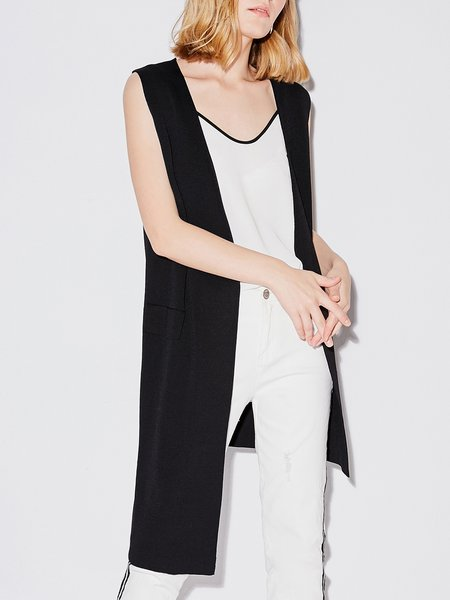 Black Sleeveless Pockets Vests And Gilet