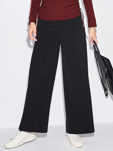 Solid Simple Wide Leg Pant