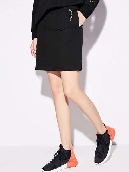 Simple Solid Embroidered Mini Skirt