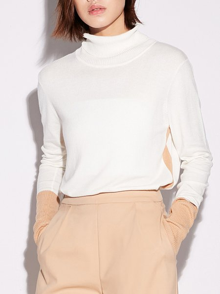 Long Sleeve Solid Turtle Neck Casual Paneled Long Sleeved Top