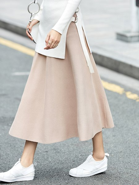 Solid Simple Maxi Skirt