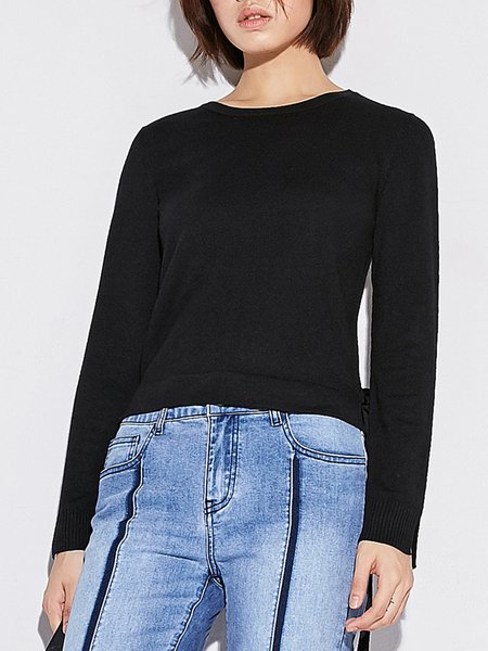 Jersey Solid Long Sleeve Long Sleeved Top
