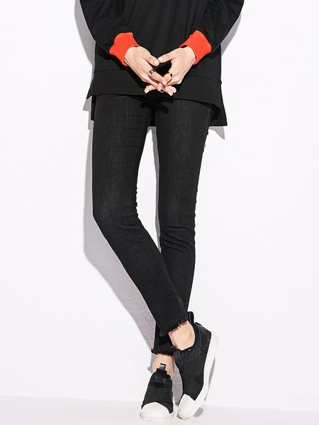 Black Simple Solid Ripped Cotton Jeans