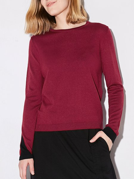 Solid Simple Long Sleeve Crew Neck Sweater