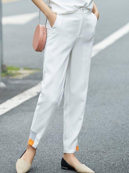 Paneled Simple Straight Leg Pants