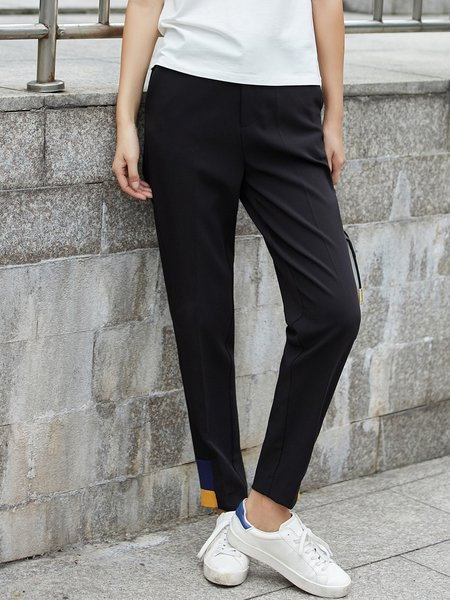 Paneled Simple Straight Leg Pant