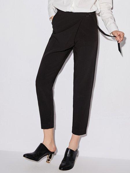 Black Simple Straight Leg Pants