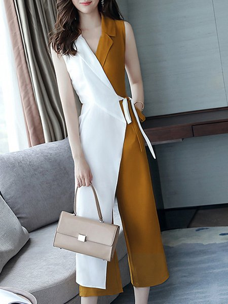 Work Surplice Neck Color-block Jumpsuit