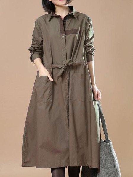 Shirt Collar Cotton-blend Casual Long Sleeve A-line Linen Dress