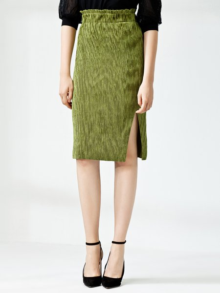 Green Slit Elegant Solid Midi Skirt