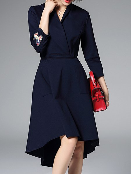 Plus Size Navy Blue High Low Simple Embroidered Wrap Dress