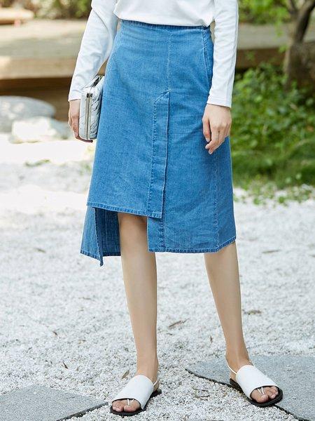 Solid A-line Simple Asymmetric Midi Skirt