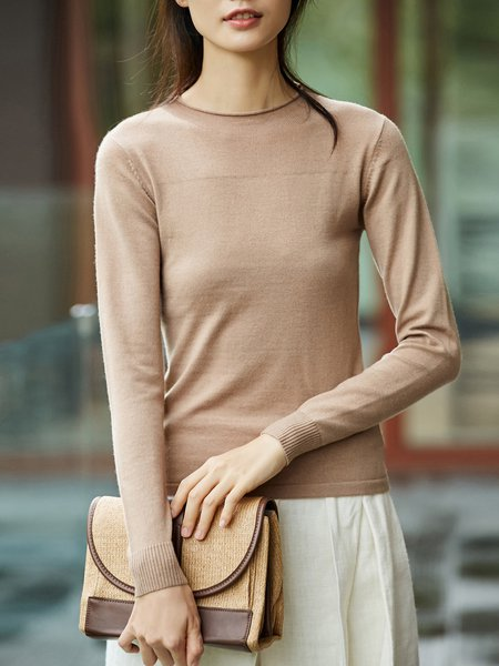 Long Sleeve Simple Solid Sweater