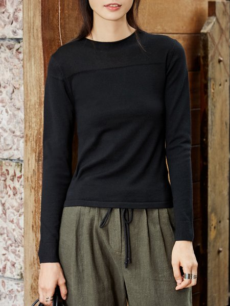 Long Sleeve Crew Neck Solid Knitted Sweater