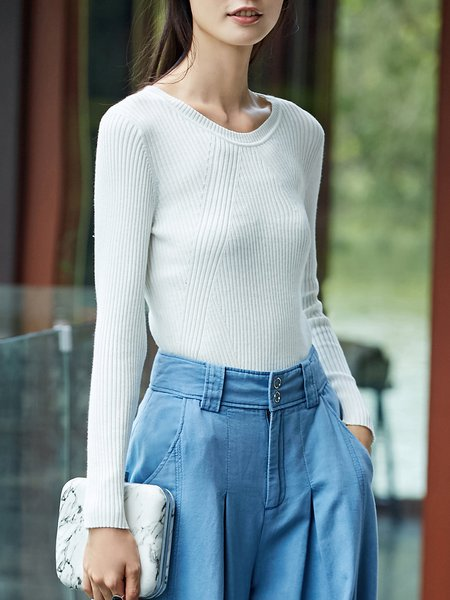 Long Sleeve Casual Solid Knitted Sweater