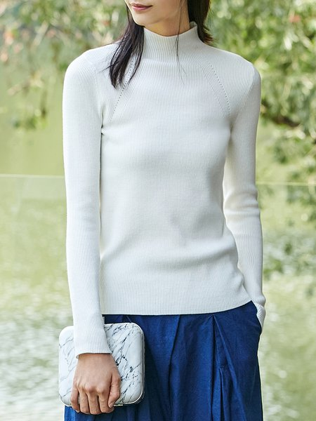 Long Sleeve Ribbed Solid Turtleneck Sweater