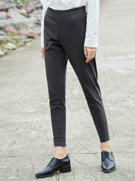 Gray Simple Solid Spandex Skinny Leg Pant