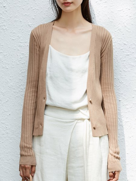 Long Sleeve Solid Knitted Ribbed Cardigan