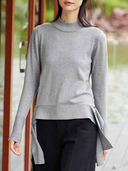 Cotton-blend Solid Long Sleeve Sweater