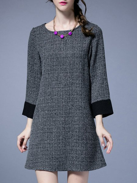 Gray Crew Neck Long Sleeve Linen H-line Midi Dress