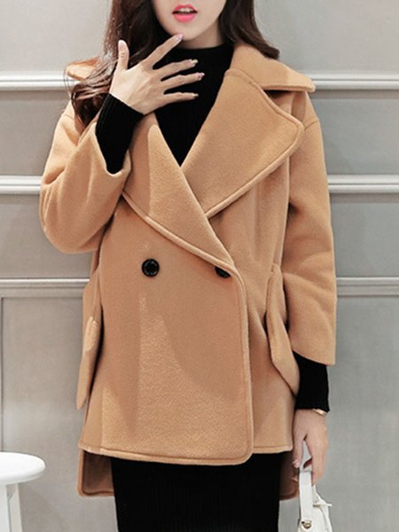 Lapel Pockets Casual Long Sleeve Pea Coat