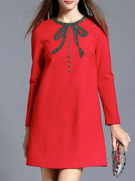 Red Elegant Cotton-blend Beaded Midi Dress