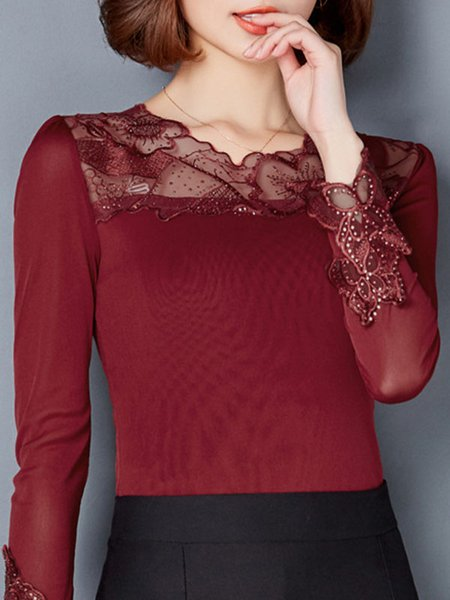 Burgundy Long Sleeve Embroidered Viscose Long Sleeved Top