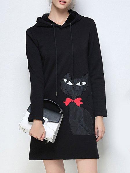 Black Patch H-line Long Sleeve Midi Dress