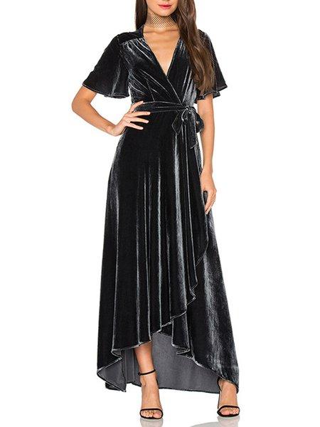 Black  Wrap High Low Short Sleeve Maxi Dress