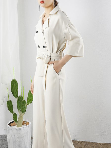 Apricot 3/4 Sleeve Buttoned Jumpsuit