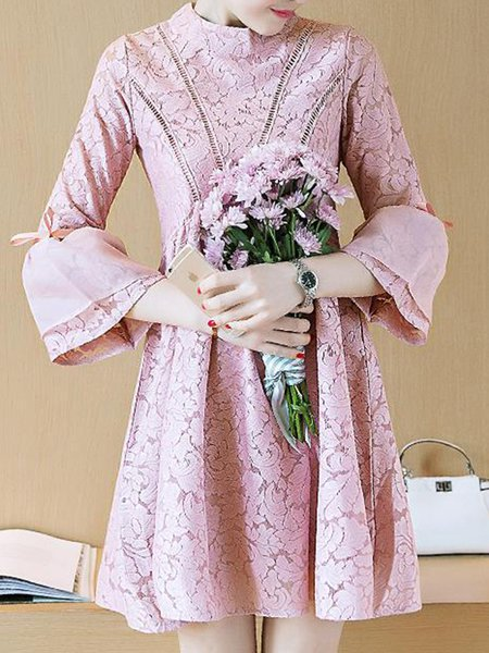 A-line Girly Guipure Lace Midi Dress