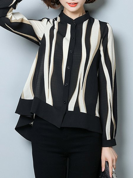 Plus Size Black Casual Stripes Cotton High Low Blouse